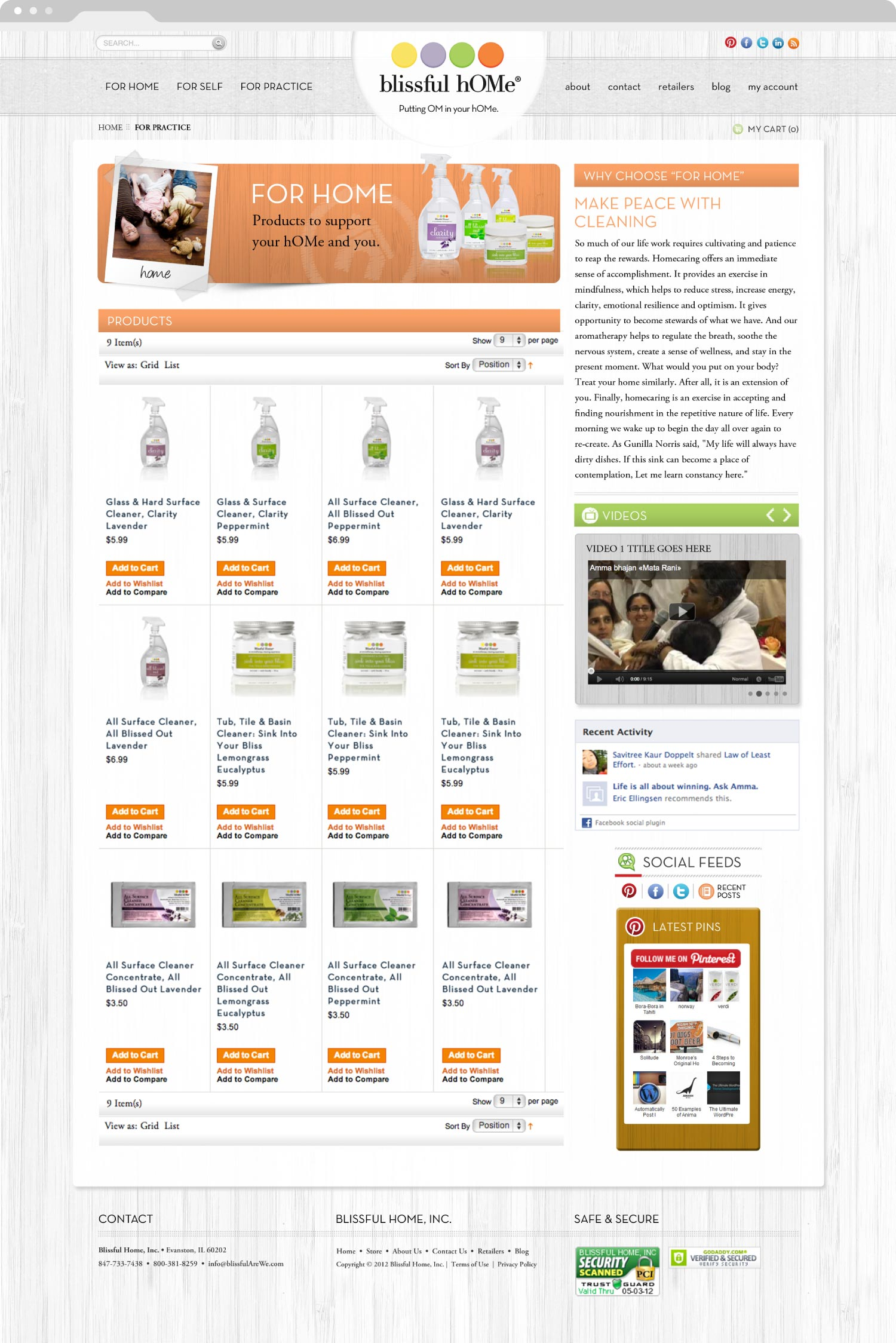 Blissful Home Web Design Page